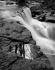 Waterfall and Reflection by Russ Martin (Black & White Photograph)