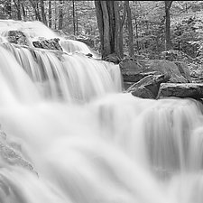 Forest Waterfall by Russ Martin (Black & White Photograph)