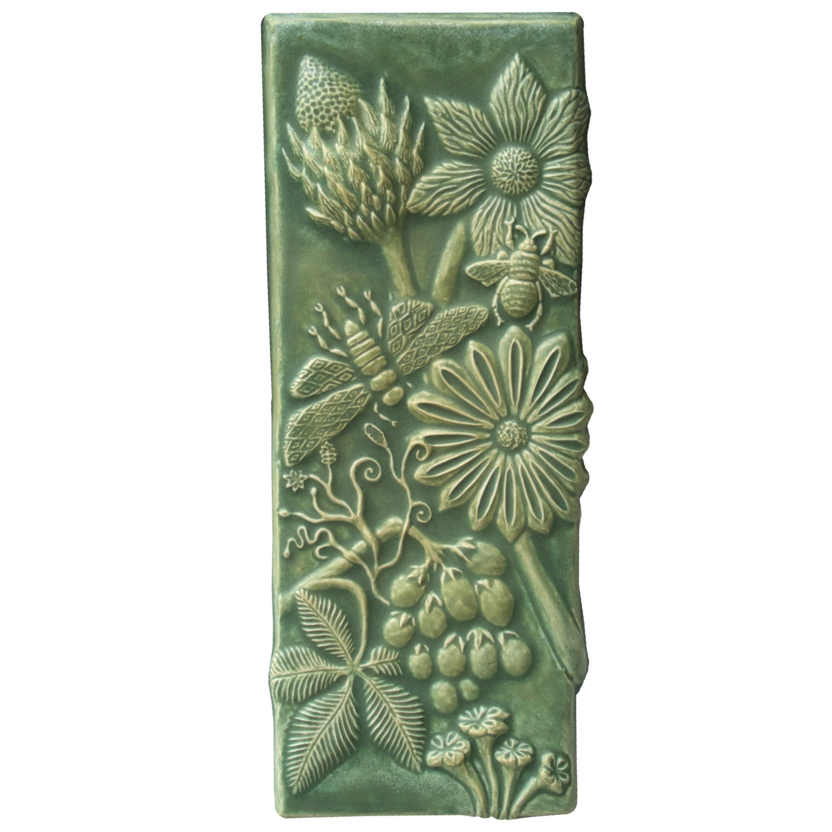 Botanical Tall Ceramic Tile In Patina Glaze By Beth