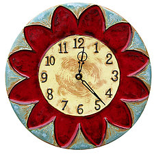 Sunflower Ceramic Wall Clock in Red, Turquoise & Yellow by Beth Sherman (Ceramic Clock)