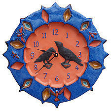 Ravens Wall Clock in Terracotta & Sapphire by Beth Sherman (Ceramic Clock)