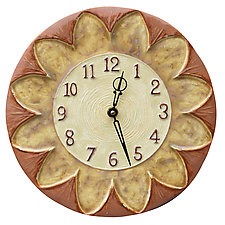 Sunflower Ceramic Wall Clock in Salmon, Cream, and Yellow Glazes by Beth Sherman (Ceramic Clock)