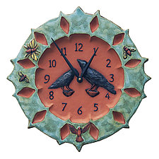 Ravens Ceramic Wall Clock in Turquoise & Terra Cotta by Beth Sherman (Ceramic Clock)