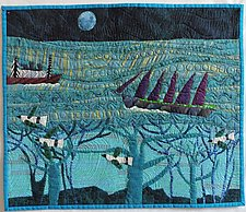 Ships Passing in the Night by Pamela Allen (Fiber Wall Hanging)