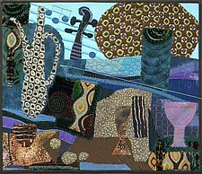 Still Life with Violin by Pamela Allen (Fiber Wall Hanging)