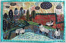30 Fish and 4 Sheep by Pamela Allen (Fiber Wall Hanging)