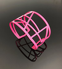 Web Cuff in Pink by Melissa Stiles (Steel Bracelet)