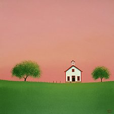 Little White Schoolhouse by Sharon France (Acrylic Painting)