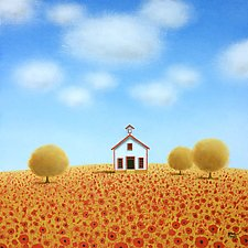 Old Schoolhouse in a Poppy Field by Sharon France (Acrylic Painting)