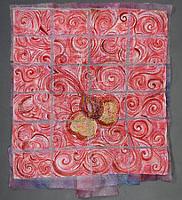 Crimson Little Flower 8 by Natalya Khorover Aikens (Fiber Wall Hanging)