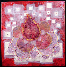 Crimson Little Flower 5 by Natalya Khorover Aikens (Fiber Wall Hanging)