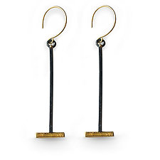 Gold and Silver Shadow Branch Earrings by Susan Crow (Gold & Silver Earrings)