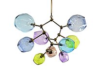 Monte Carlo Multi-Colored Geocluster Chandelier by Rebecca Zhukov (Art Glass Chandelier)