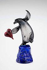 Dancing Penguin by Paul Labrie (Art Glass Sculpture)