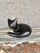Laying Down Bronze Cat by Yenny Cocq (Metal Sculpture)