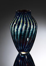 Treasure Series Stripe Reverse Amphora Vase by Jacob Pfeifer (Art Glass Vase)