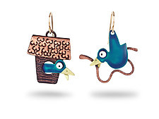 Bluebird Earrings by Lisa and Scott  Cylinder (Metal Earrings)