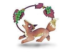 Fox and Grapes Pin by Lisa and Scott  Cylinder (Metal Pin)