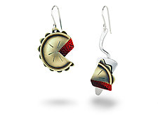 Slice Of The Pie Earrings by Lisa and Scott  Cylinder (Silver & Brass Earrings)