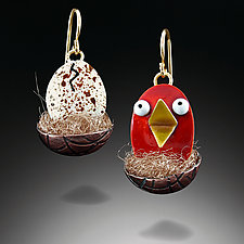 Red Hatchling Earrings by Lisa and Scott  Cylinder (Copper & Enamel Earrings)