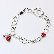 Swirl Link Bracelet in Red by Susan Panciera (Silver & Stone Bracelet)