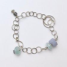 Swirl Link Bracelet in Blue by Susan Panciera (Silver & Stone Bracelet)