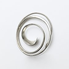 Forged Oval Swirl Pin by Susan Panciera (Silver Brooch)