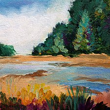 Mountain Stream by Karen  Hale (Acrylic Painting)