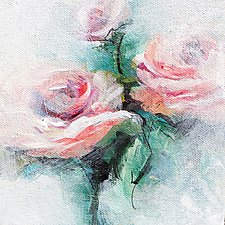 Pink Roses by Karen  Hale (Acrylic Painting)