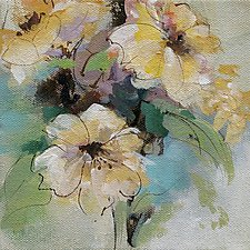 Yellow Flowers 1 by Karen  Hale (Acrylic Painting)