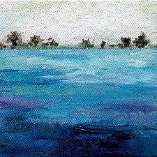 Land by the Sea by Karen  Hale (Acrylic Painting)