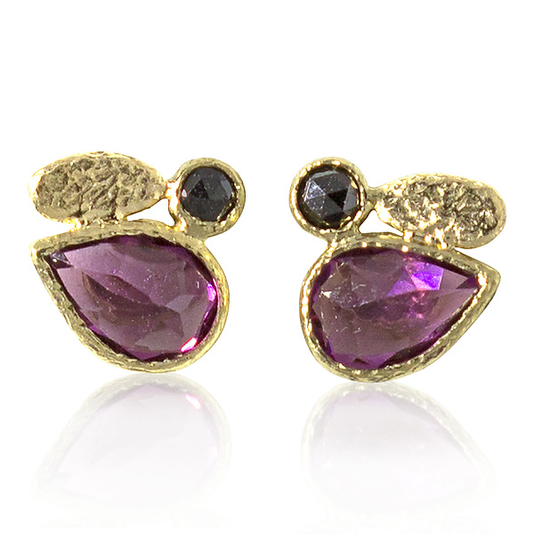Pear Shaped Rhodolite and Black Diamond Stud Earrings