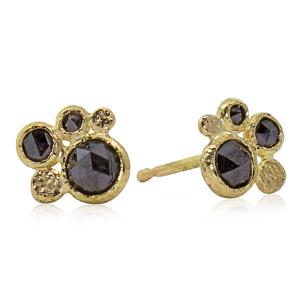 1b4f450bd Black Diamond and Gold Pebble Stud Earrings by Rona Fisher (Gold   Stone  Earrings)