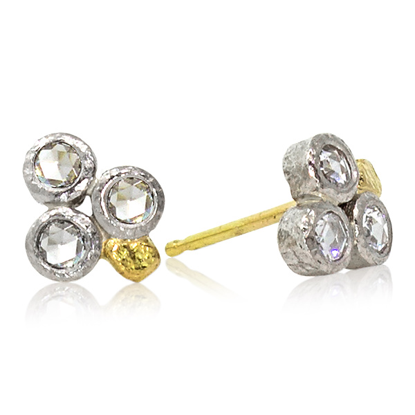 Trio Rose-Cut Diamond Stud Earrings