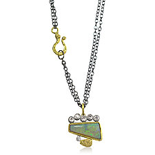 Geo-Organic Opal Pendant by Rona Fisher (Gold, Silver & Stone Necklace)