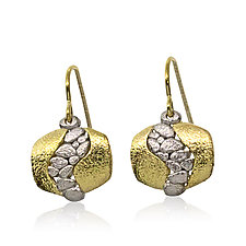 Open River Earrings in Palladium and 18K Gold by Rona Fisher (Gold & Silver Earrings)