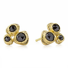 Gold Pebble Black Diamond Stud Earrings by Rona Fisher (Gold & Stone Earrings)