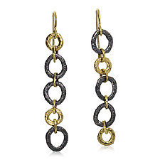 Mismatched Dangle Open Pebble Earrings by Rona Fisher (Gold & Silver Earrings)