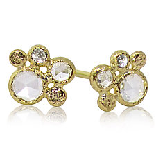White Diamond Cluster Stud Earrings by Rona Fisher (Gold & Stone Earrings)