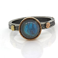 Textured Pebble Stacking Rings by Rona Fisher (Silver & Stone Ring)
