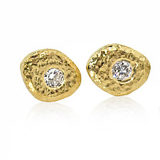 Single Pebble and Diamond Stud Earrings by Rona Fisher (Gold & Stone Earrings)
