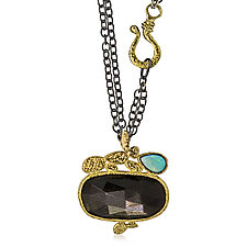 Black Moonstone & Opal Pendant by Rona Fisher (Gold, Silver & Stone Necklace)