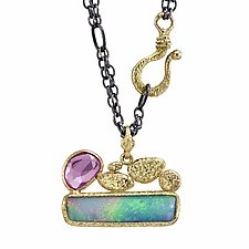Geometric Opal and Pink Sapphire Necklace by Rona Fisher (Gold, Silver & Stone Necklace)