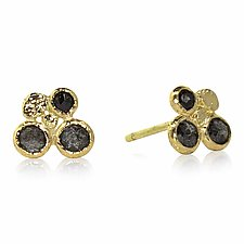 Diamond Cluster Stud Earrings by Rona Fisher (Gold & Stone Earrings)