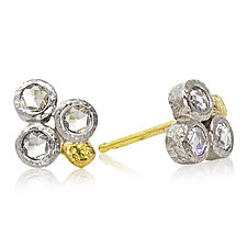 Trio Rose-Cut Diamond Stud Earrings by Rona Fisher (Gold, Palladium & Stone Earrings)
