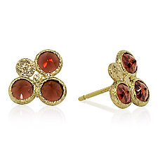 Trio Round Garnet Stud Earrings by Rona Fisher (Gold & Stone Earrings)