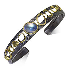 Double-Cuff Bracelet with Oval Rainbow Moonstone by Rona Fisher (Gold, Silver & Stone Bracelet)