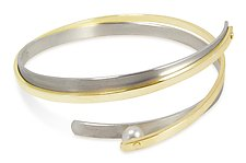 Bangle with Rivet-Set Pearl by Martha Seely (Silver & Pearl Bracelet)