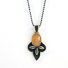 Moon Leaf Pendant by Vickie  Hallmark (Silver & Stone Necklace)
