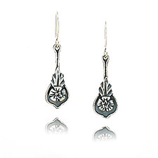 Hibiscus Earrings by Vickie  Hallmark (Silver Earrings)